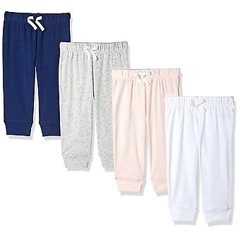 Essentials Baby Girls 4-Pack Pull-On Pant, Pink/Multi, 18M