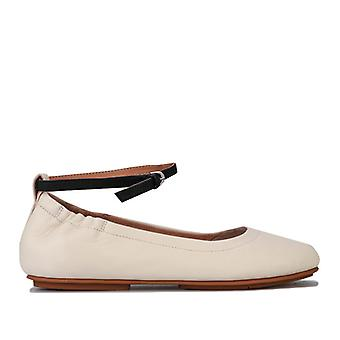 Women's Fit Flop Allegro Leather Ankle Strap Ballet Pumps in Cream
