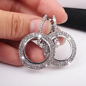 Doppel Creolen Kristall und Silber Ohrringe
