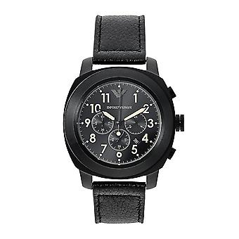 Armani Watches Ar6061 Mens Sportivo Black Dial Black Leather Chronograph Watch