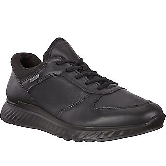 Ecco Mens Exostride Leather Gore-Tex Walking Hiking Trainers Shoes - Black