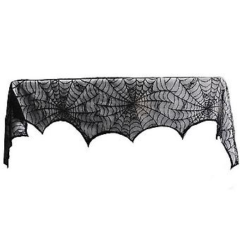 Black spider lace tablecloth, party living room dining room fireplace scarf mantel