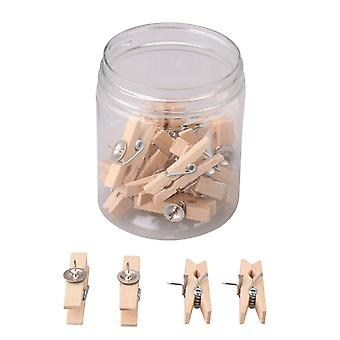 20 x Wooden Spring Clothes Clip  with nail 35x10x7mm
