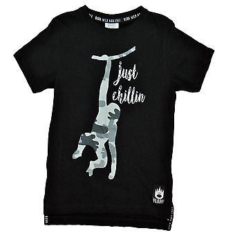 T-shirt, Gewoon chillin, zwart, 110/116 cl