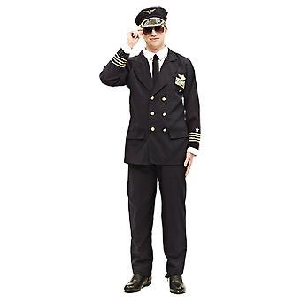 Mens Airline Pilot uniform fancy dress film TV groep Suit kostuum