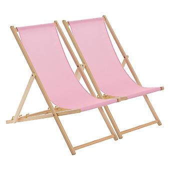 Wooden Deck Chair - Traditional Beach Style Adjustable Folding Chair - Light Pink - Pack of 2