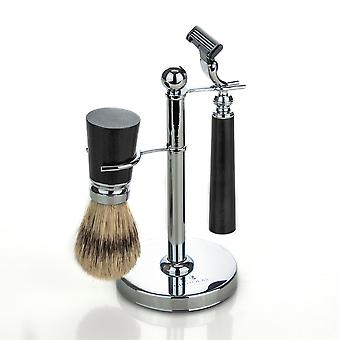 Nicholas Winter Men's Traditional Shaving Set with Brush and Stand - Black