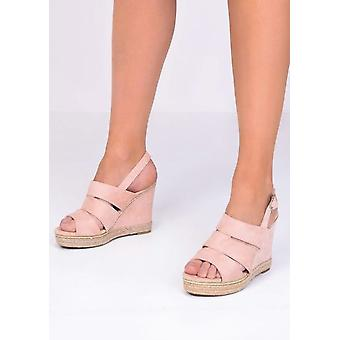 Braided Faux Suede Cut Out Wedge Sandals Pink