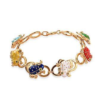 GP Blue Sapphire Enamelled Frog Link Bracelet Size 7.5 14ct Gold Plated Silver