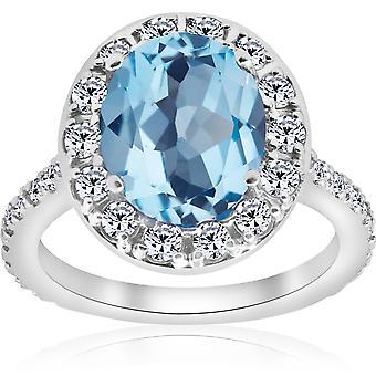 4 cttw blå topas diamant halo vintage ring engasjement 14k hvitt gull