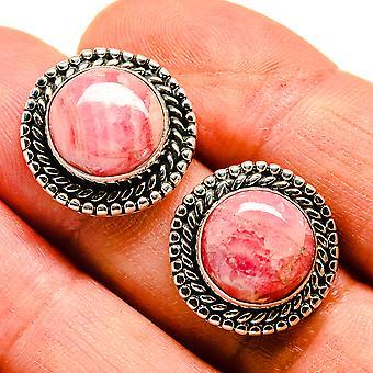 """Rhodochrosite Earrings 3/4"""" (925 Sterling Silver)  - Handmade Boho Vintage Jewelry EARR407466"""