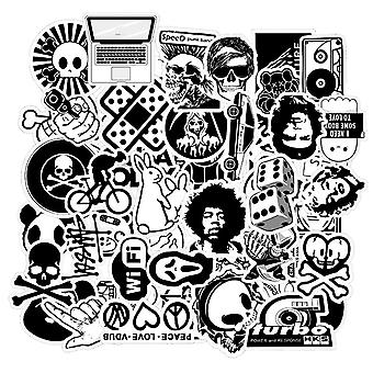 50 Pcs Black And White Random Cartoon Pvc- Cool Stickers