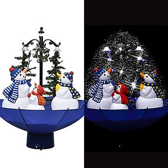 vidaXL Christmas tree with snow and umbrella foot Blue 75 cm PVC