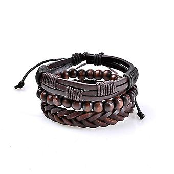 3 Pcs Men's Leather Bead Braided Bracelet Multicouche Bangle Bracelet Vintage