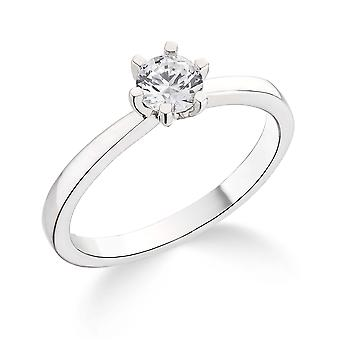 9K White Gold 6 Claw Tiffany Style Setting 0.35Ct Certified Solitaire Diamond Engagement Ring