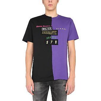 Diesel A010400catm652a Men's Black/purple Cotton T-shirt