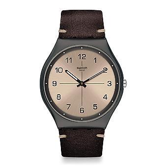 Swatch SS07M100 Time To Trovalize Gunmetal Grey & Dark Brown Leather Watch