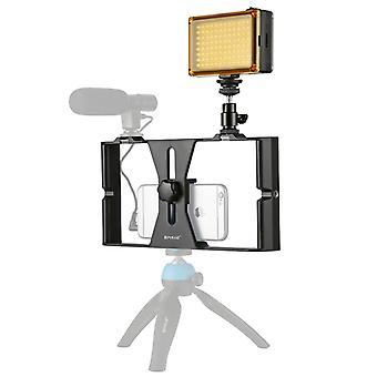PULUZ 2 in 1 Vlogging Suora lähetys LED Selfie Light Älypuhelin Video Rig Sarjat kylmä kenkä kolmijalka pää iPhone, Galaxy, Huawei, Xiaomi, HTC, LG