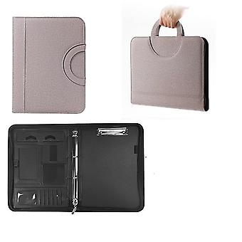 A4 Business Multifunctional Leather Padfolio File Document Organizer