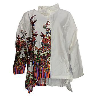 Atitudes de Renee Women'top sateen button front shirt branco A370770