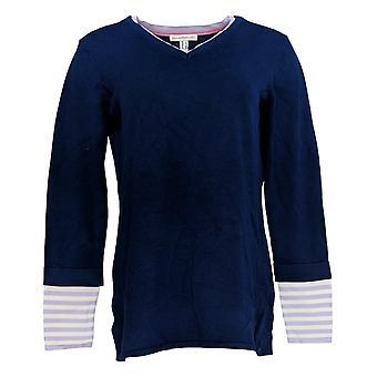 Isaac Mizrahi Live! Women's Sweater Layered Stripe Sleeve Blue A374938