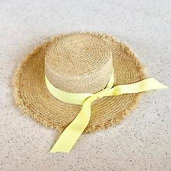 Nyári Nap / strand Raffia Straw Hat, Bow Ribbon Cap Temperament Lapos Szalma Kalapok