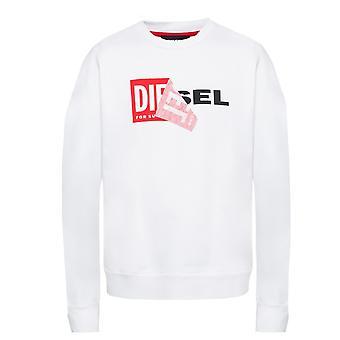 ديزل S-SAMY مقشر مربع شعار قميص أبيض