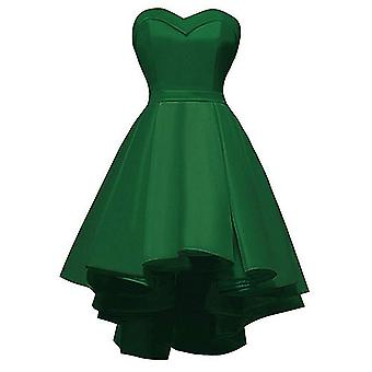 High-low Satin, Short Strapless Prom Gown Dress