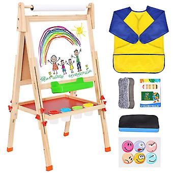 Battop deluxe wooden art easel kids double sided chalkboard painting easel for children toddlers, he