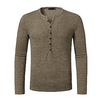 YANGFAN Homme & S Casual T-Shirt Long Sleeve Button Top