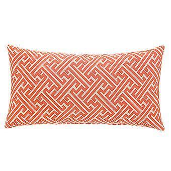 """Zeus Jacquard Woven Lumbar Pillow 22""""X12"""",  Orange"""