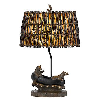 Lámpara de mesa de canoa de 150W 3 Way Bear con sombra de mimbre ovalada, bronce antiguo