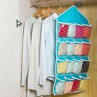 16 Poches Chaussettes Bra Sous-vêtements Hanging Organizer Tidy Rack Hanger Storage Door