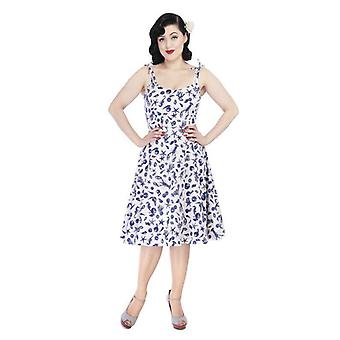 Collectif Vintage Women's White & Blue Janie Seashell 1950's Dress