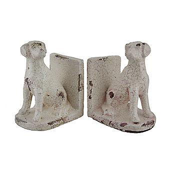 2 Piece Sitting Lab Dog Off-White Distressed Crackle Finish Ceramic Bookend Set