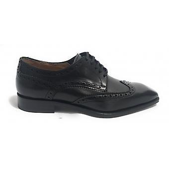 Men's Shoes Ben.ter Derby Brogue Leather Col. Black Handmade Us18bt22