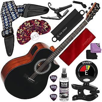 Tagima america series california-t acoustic electric guitar, black with capo, strap, massaging strap attachment and deluxe accessory bundle
