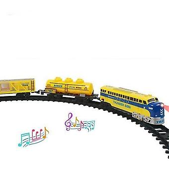 Electric Train, Magnetic Slot, Diecast Railway With Two-carriages Train Wooden,