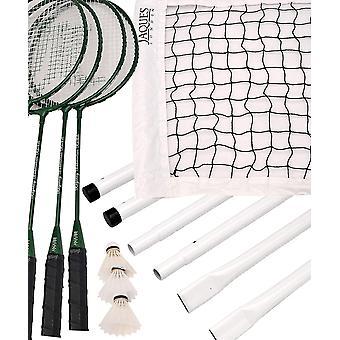Jaques of London Badminton Set; Premium 4 player Set Includes 4 Badminton Racket Set