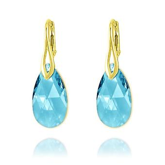 24K gold aquamarine pear earrings