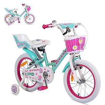 Byox Barn Bike 16 tum Cupcake, Stödhjul, Docka sits, Korg, Metallram