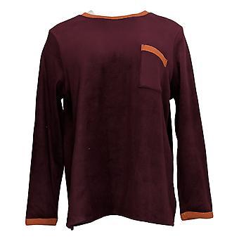Cuddl Duds Women's Regular Fleecewear Stretch Pajama Top Brown A381825