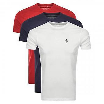 Luke 1977 Luke Johnys 3 Pack Small Logo T-Shirts Red/White/Navy M420150