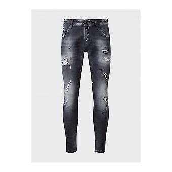 883 Police Deniro Slim Fit Faded Black Jeans