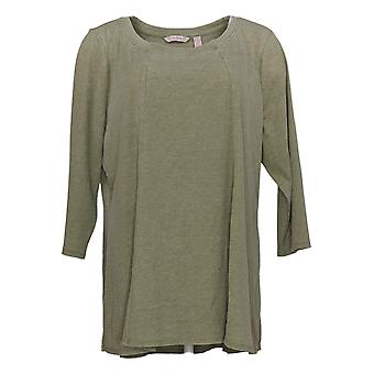 Anybody Women's Top Washed Rib Long Sleeve Seamed Green A392856