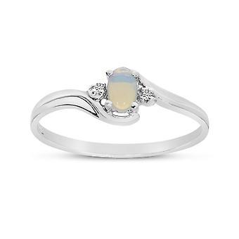 LXR 10k hvidguld ferskvandskultureret perle og diamantring
