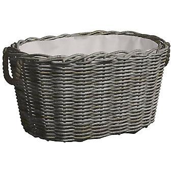 vidaXL wooden basket with handle 60x40x28 cm Grey willow