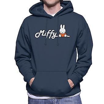 Miffy sidder på logo mænd's hætteklædte sweatshirt