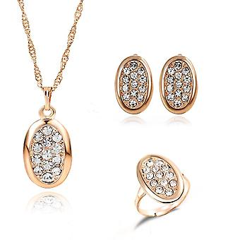 Elegant Flower Crystal Cz Necklace Earring Ring Jewelry Set