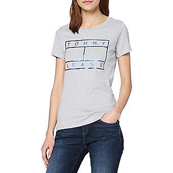 Tommy Jeans Tjw Metallic Flag Tee T-Shirt, Grå (Ljusgrå Htr P), 38 (En storlek: X-Small) Kvinna